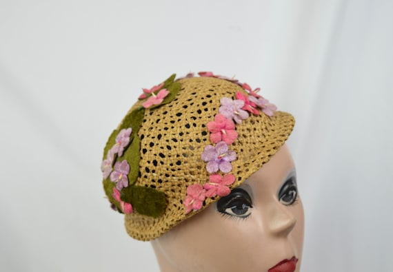 Vintage 1960's Crocheted Straw Cloche Hat With Ve… - image 7