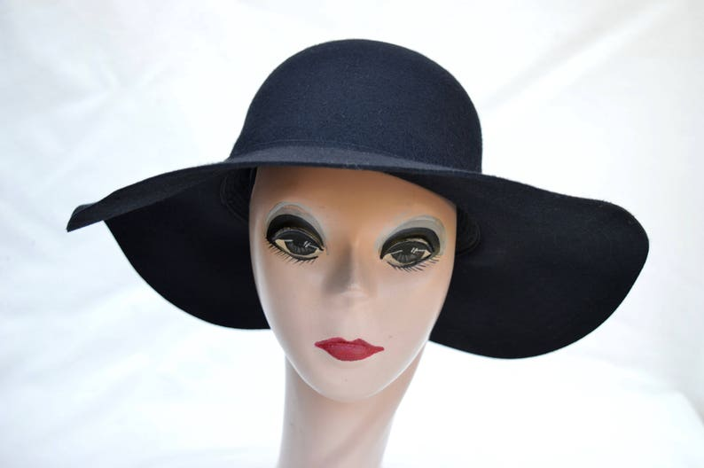 f38b18553e098 Wide Brim Wool Felt Black Floppy Brim Hat   Womens Large Brim