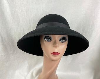 "Black Wool Felt 4"" Brim Lampshade  Hat / Large Brim Lampshade Hat / Millinery / Fashion Hat / Wool Felt Winter Hat"