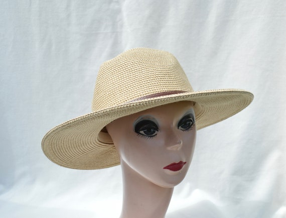 07a67fbd8 Large Brim Fedora Hat / Large Head Size Straw Hat / Summer Fedora hat / 3  Inch Flat Brim Sun Hat / Summer Hat