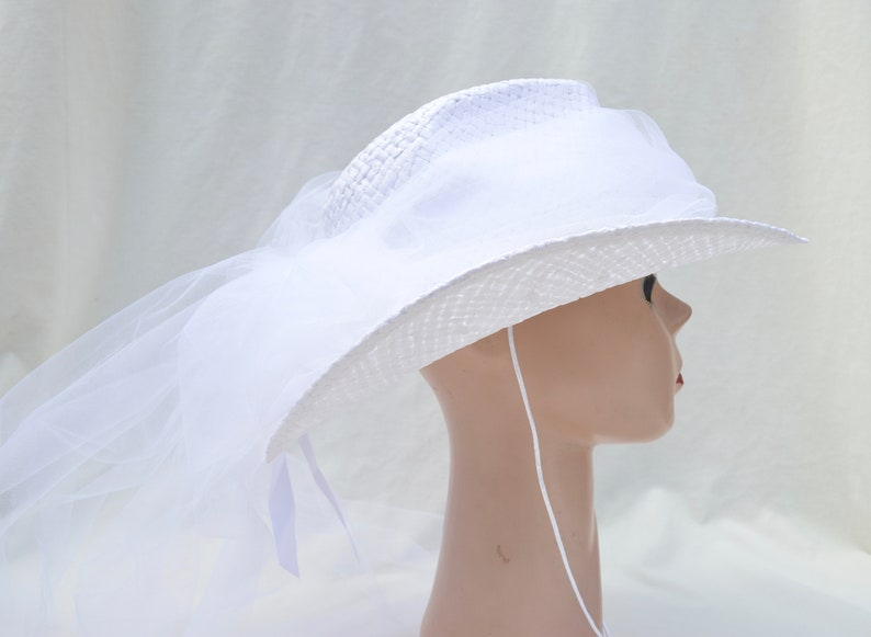 23791942f5539 White Straw Bridal Cowgirl Hat With Rhinestone Hat Band