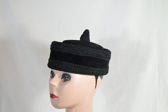 Vintage Pillbox Hat 50s Dark Burgundy Red Fur Felt Tulle Netting Cap Fascinator Free US Shipping