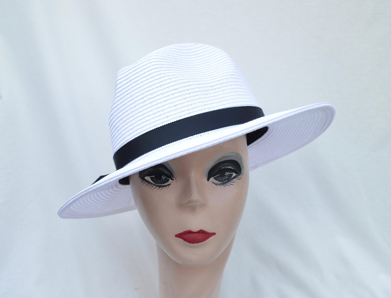 78649d95acb2e6 White Fedora Sun Hat / Womens Straw Fedora White Brim Hat / | Etsy