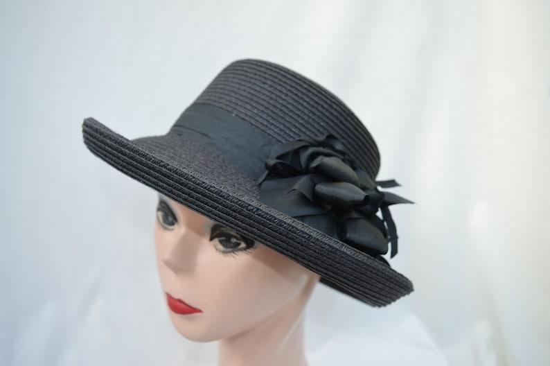 67396ebd744 Black Straw Kettle Brim Hat With Silk Ribbon Bow Trim   Retro