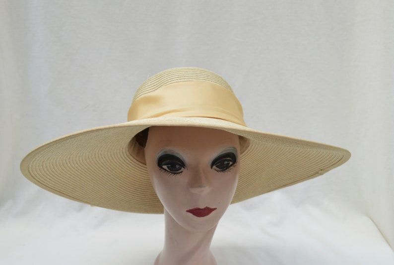 d78d0b2406ae Yellow Gold Large Flat Brim Sun Hat With Ribbon Trim / Womens Large Brim  Hat With Ribbon Band / Garden Party Hat / Derby Hat