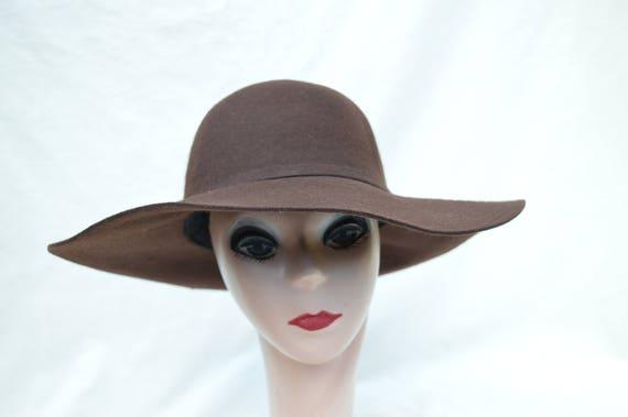 Dark Brown Wide Brim Felt Hat   Brown Large Brim Wool Felt  b856e7c649d