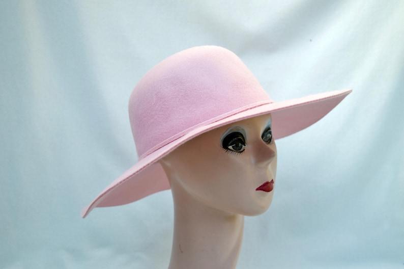 0d8629743f1 Pink Wide Brim Boho Large Brim Wool Felt Hat   Lady Gaga Blush Pink ...