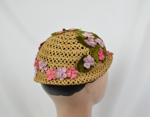 Vintage 1960's Crocheted Straw Cloche Hat With Ve… - image 3