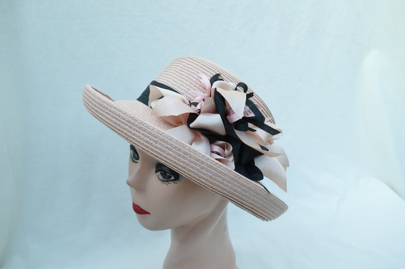 ed67f925457 Pink Kettle Brim Straw Hat With Pink And Black Silk Ribbon Bow