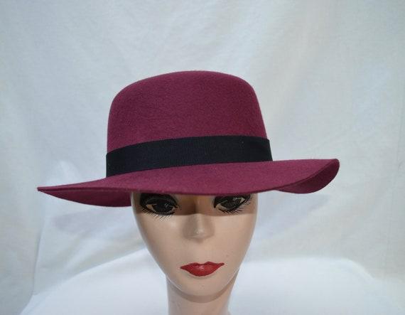 fa4a5fa6c1a67 Burgundy Felt Fedora   Medium Brim Wool Fedora   Womens Wool