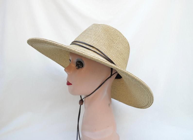 2f67c04fd34fd Women s Large 5 Inch Brim Tan Fedora Style Sun Hat With