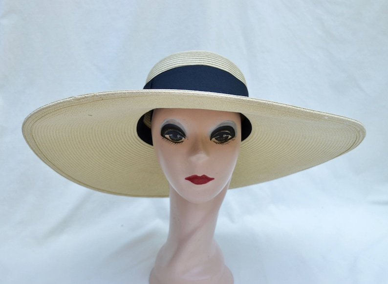 96c1dac0e8617 Large 6-Inch Brim Tan Sun Hat With Black Ribbon   Packable