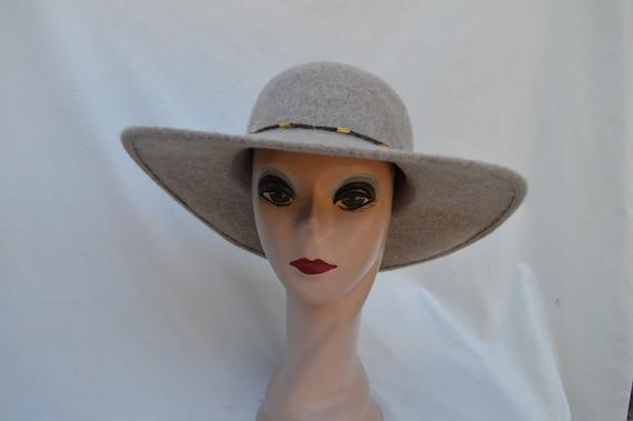Tan Wool Large 4 Inch Brim Hat   Tan Flat Brim Wool Hat    c9b4f0cfb8c