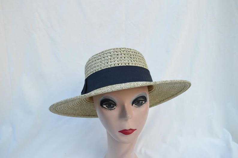 a326376bdfe Straw Boater Hat With Black Ribbon Band / Straw Boater Hat / Sand Heather  Women's 3 Inch Brim Straw Hat / Retro Style Summer Straw Hat