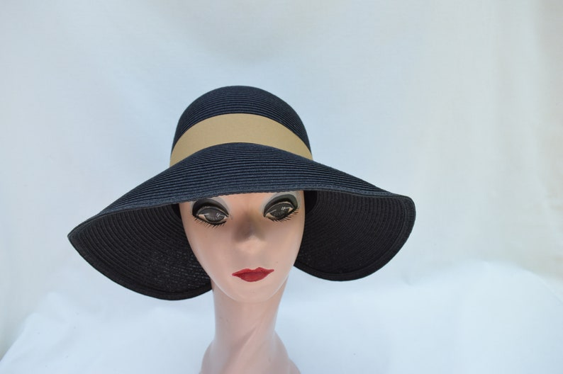 a418c3d2e4bf0 Lampshade Split Brim Black Sun Hat With Bow   Ivory Vintage