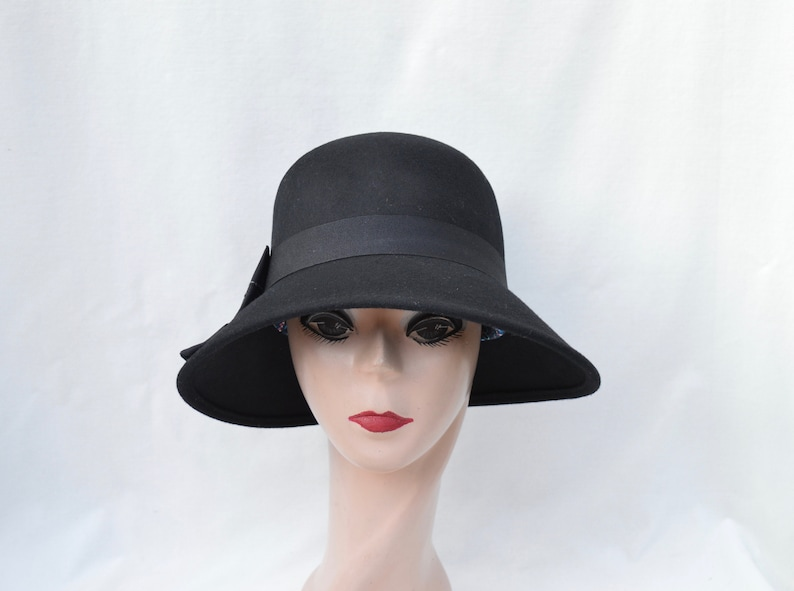 Black Wool Felt Cloche Hat Wih Bow Trim  Vintage Inspired Cloche With Downturned Side To Side Brim  Downton Abbey Black Felt Cloche Hat