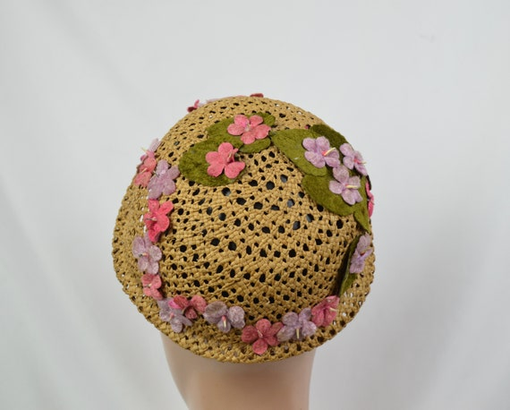 Vintage 1960's Crocheted Straw Cloche Hat With Ve… - image 6