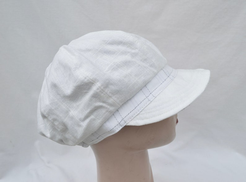 White Vintage Inspired Fabric Cap  Handmade Retro Inspired Boating Cap  Cotton Side Up Brim Cap