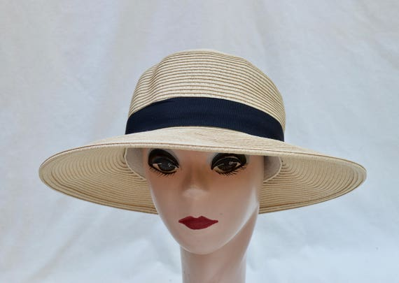 498fdc7320b84 Med XXl Beige Straw Hat With Black Ribbon Trim   Packable