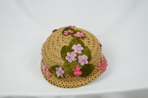 Vintage 1960's Crocheted Straw Cloche Hat With Ve… - image 9