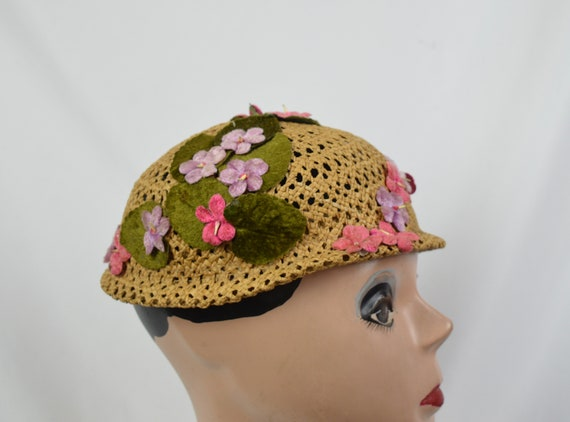 Vintage 1960's Crocheted Straw Cloche Hat With Ve… - image 2