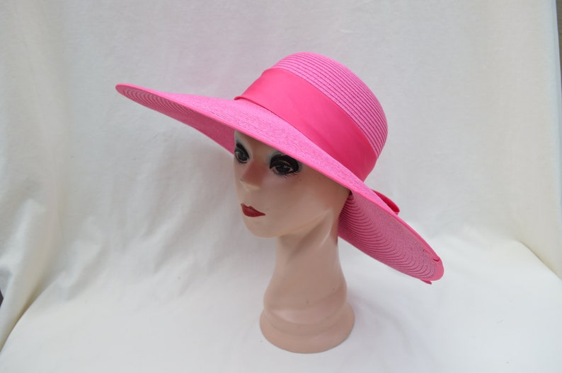 7a3c1cd0133c Hot Pink Large Flat Brim Sun Hat With Ribbon Trim / Womens Vintage Inspired  Large Brim Hat With Ribbon Band / Garden Party Hat / Derby Hat