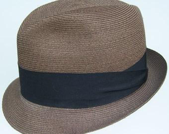 d106844ad746c 7 1 4 - Vintage Adam Copper Brown Straw Mens Fedora Hat