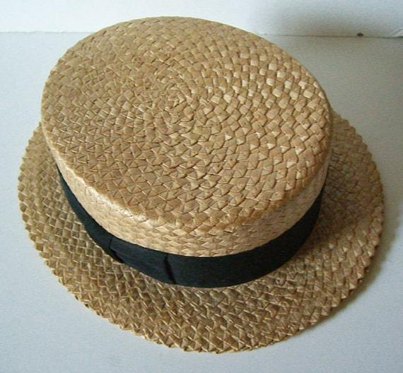 7 1/4 - Vintage Mens Summer Straw Boater Hat - image 1