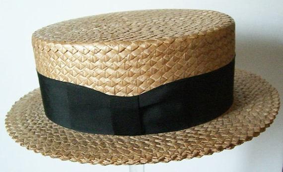 7 1/4 - Vintage Mens Summer Straw Boater Hat - image 4