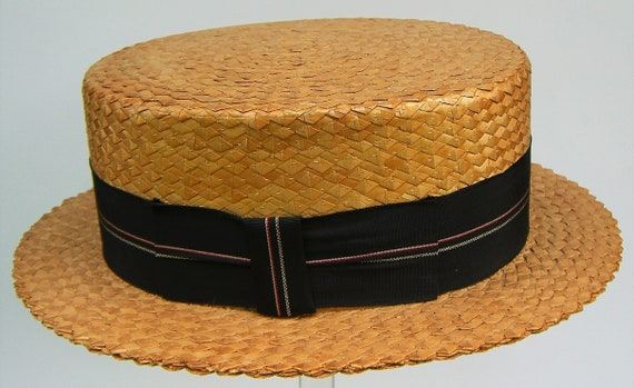 "22 3/4"" - Vintage Custom Men's Summer Straw Boater"