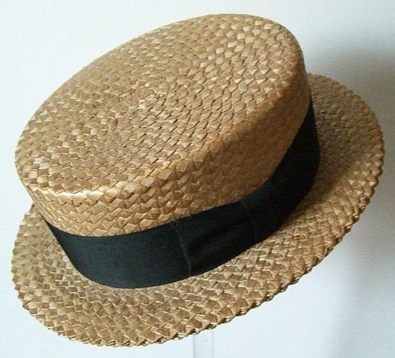 7 1/4 - Vintage Mens Summer Straw Boater Hat - image 2
