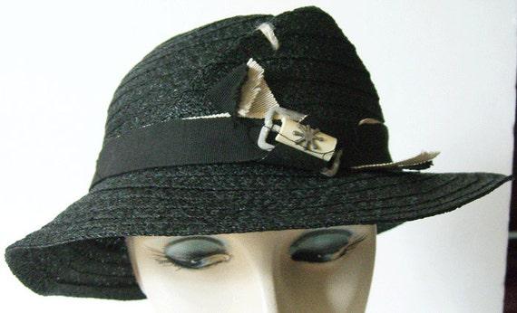 "23"" - Vintage 1930s Modernist Black Straw Women's"