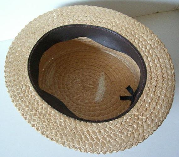 7 1/4 - Vintage Mens Summer Straw Boater Hat - image 3