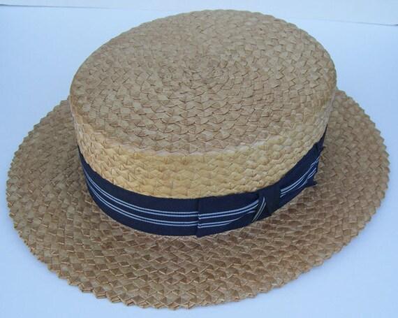 """22 3/4"""" - Vintage Mens CHAMP Summer Straw Boater … - image 3"""
