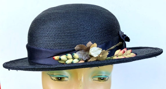 Antique Edwardian Blue Straw Women's Hat