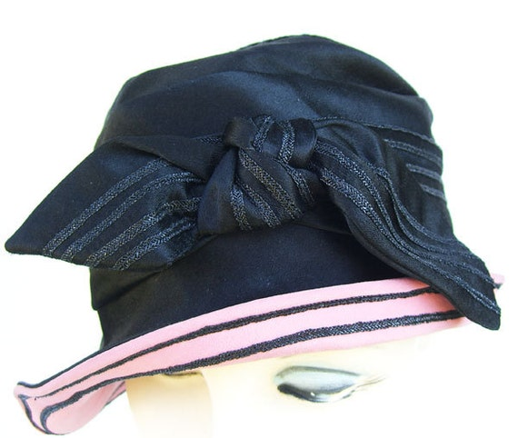 d26d1080413 22 Vintage Black Silk Satin Womens Cloche Hat