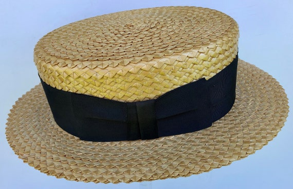 "23"" - Vintage Stetson Men's Straw Boater"
