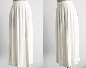 Vintage 80s 90s Karen Scott Off White Pleated Crepe Midi Skirt Knee Length - M