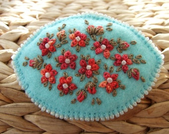 Turquoise Felt Oval Pin with  with Hand Embroidered and Beaded Flowers  and Leaves
