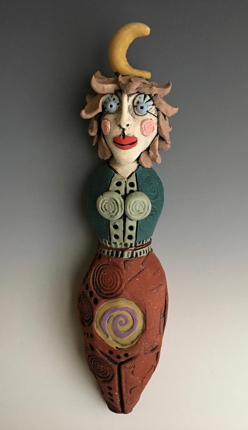 Moon Ceramic Female Sculpture Wall Art Clay Figures MOON Spirit Goddess FREE SHIPPING!!! Female Goddess Spirit Woman Clay Sculpture