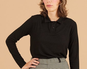 Black collared long sleeves polo shirt, ribbed wool and cotton jersey fabric, Comfort shirt, collared, buttons