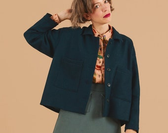 PREORDER- Green forest wool Jacket, collar Blazer, oversize blazer with pockets, Long sleeves, Comfort fall jacket
