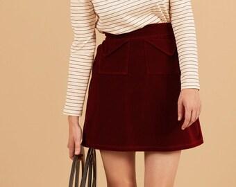 PREORDER-  Scarlet red flared skirt in velvet cotton, above the knee length, mini skirt, big pockets, elastic waistband