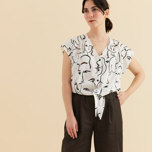Long sleeve blouse White yoga t Burning man comfy clothing Superfine loose fit shirt MEGUMI One size white blouse V neck festival shirt