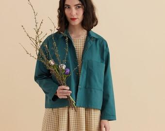 Green forest Jacket, collar Blazer, oversize blazer with pockets, Long sleeves, Comfort blouse, spring summer jacket