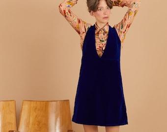 Electric blue cotton velvet pinafore dress, short skirt, dungaree, overall dress, mini dress