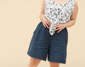 XS/S, M/L- High waist shorts in sustainable Ocean blue linen, Oeko Tex Standard 100 linen, cuffed pants pockets summer pant, comfy