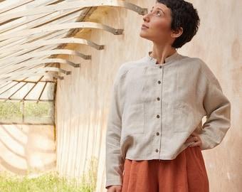 PREORDER- Ecru sustainable linen mandarin collar Blouse, OEKO TEX, coconut buttons, vegan, plastic free oversize blouse, Long sleeves