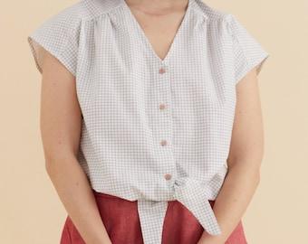 S/M - Checkered white cotton shirt, front knot top Oversize blouse, v neck , comfort short blouse, flattering