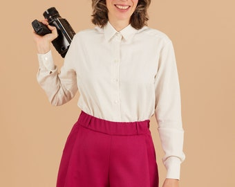 PREORDER- White collar Blouse in cotton and linen, Mother of pearl buttons, Long sleeves blouse, Comfort blouse, collared, buttons